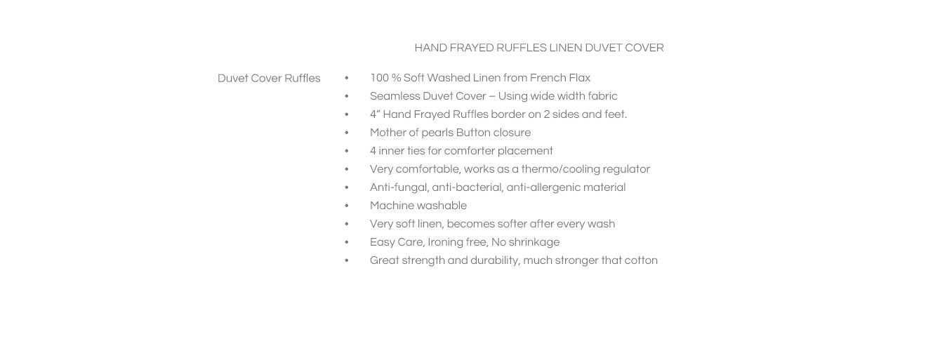 Features for Frayed Ruffles Duvet Cover