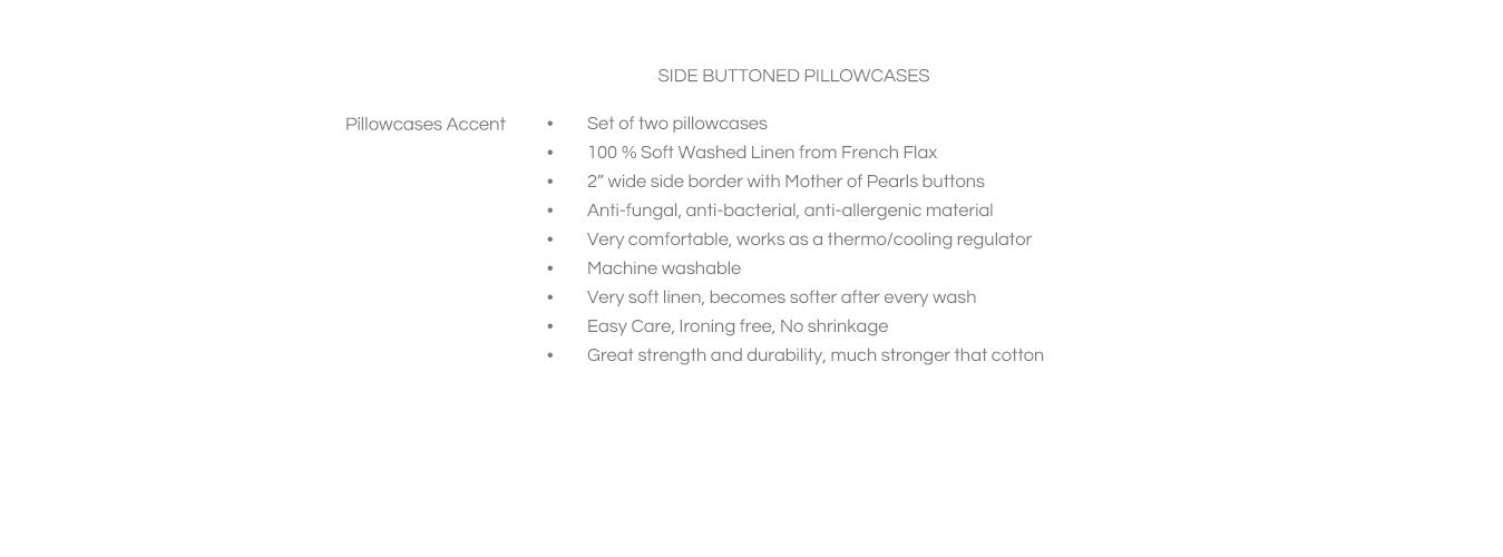 Features for Shell Buttoned Linen Pillowcases