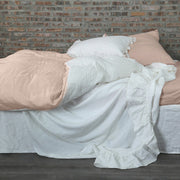 Pure Linen Duvet Cover in Two Tones Salmon/Optic White