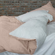 Two Tones Linen Bedding Pale Salmon/Optic White