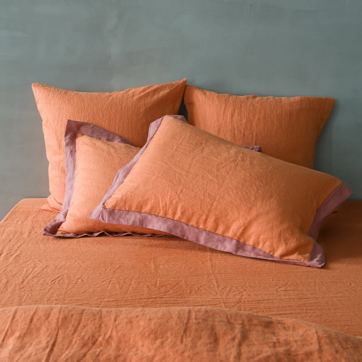 French Color Border Linen Pillowcases Pair