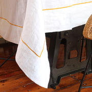 Pure linen tablecloth with bourdon border - Linenshed