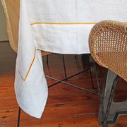 100% linen tablecloth with bourdon border - Linenshed