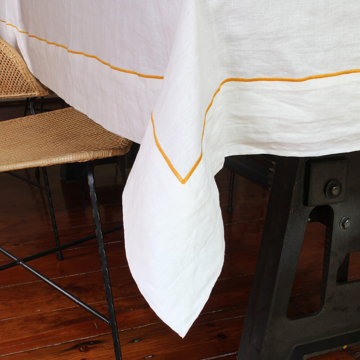 linen tablecloth with bourdon border - Linenshed