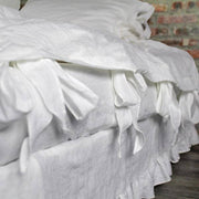 Linen Duvet Cover with Bow Ties Optic White