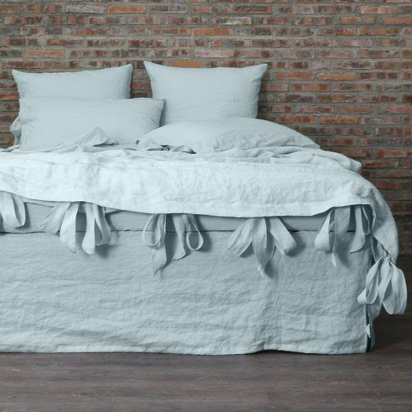Linen Duvet Cover with Bow Ties Icy Blue