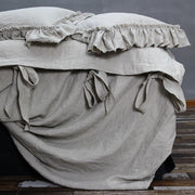 Linen Duvet Cover with Bow Ties Natural