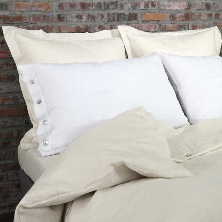 Soft Washed Linen Pillow Cases (set of 2 pieces) with Shell Buttons