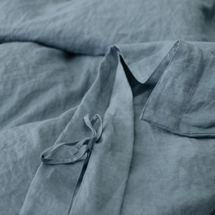 Hidden Self-fabric Ties Closures For French Blue Linen Duvet Cover