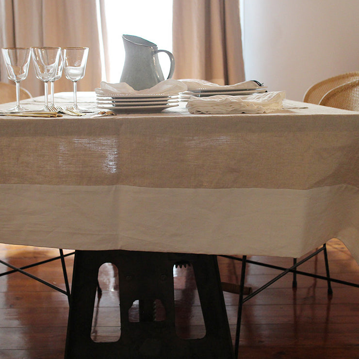 CUSTOM SIZE PURE LINEN TABLECLOTH WITH CONTRASTED BORDER