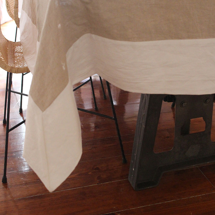PURE LINEN TABLECLOTH WITH CONTRASTED BORDER - LINENSHED