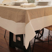 CUSTOM SIZE LINEN TABLECLOTH WITH CONTRASTED BORDER