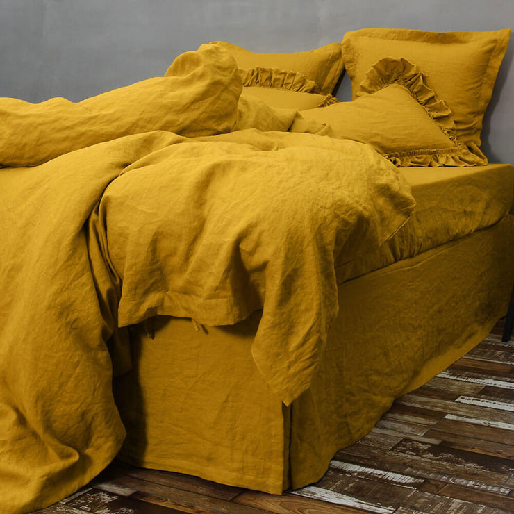 Washed Linen Bedding Set Mustard 02