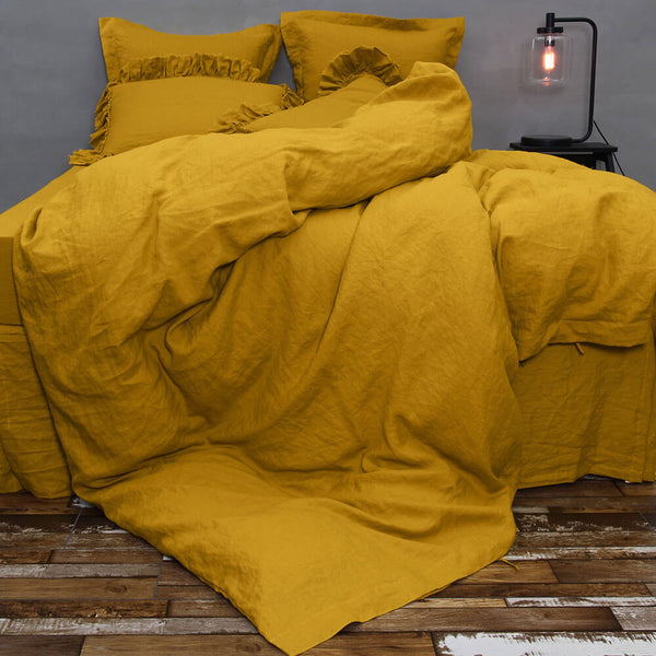 Enjoy Our Affordable Linen Duvet Cover In Mustard Now