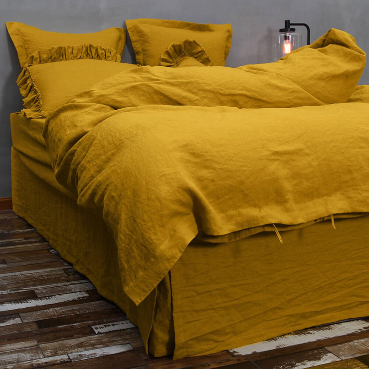 Washed Linen Bedding Set Mustard 04
