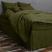 Green Olive Linen Duvet Cover set