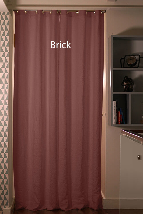 Pure Washed Linen Curtain Drapery, Brick
