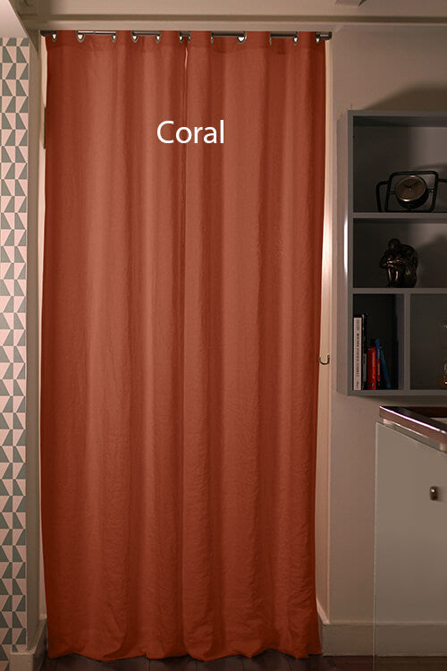 Linen Blackout Curtain in custom size, Coral
