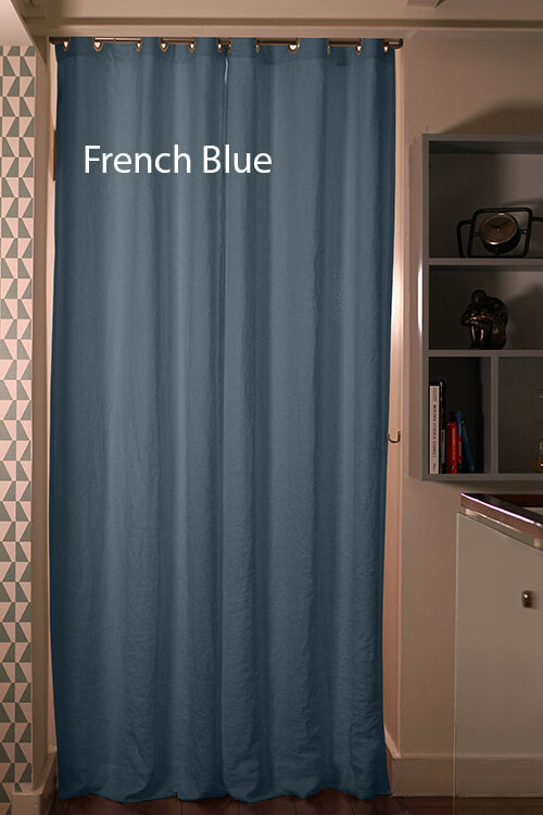 Pure Washed Linen Curtain Drapery, French Blue