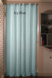 Blackout linen curtain Icy Blue
