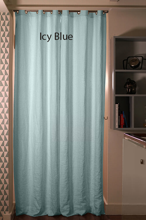 Linen Blackout Curtain in custom size, Icy Blue