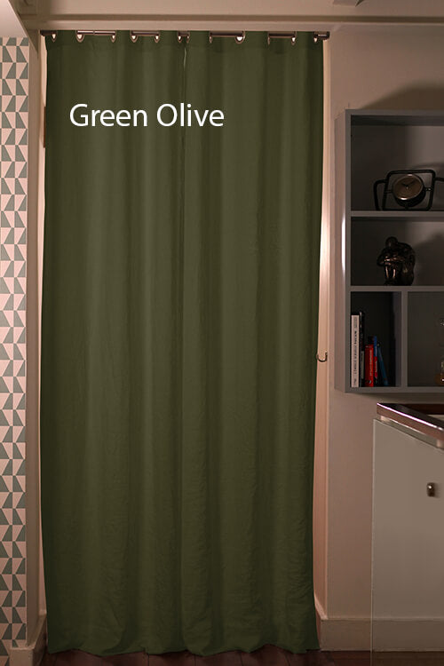 Pure Washed Linen Curtain Drapery, Green Olive
