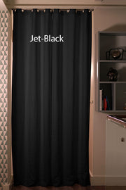 Linen Blackout Curtain in custom size, Jet-black