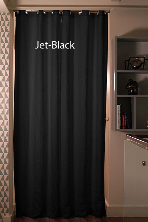 Blackout linen curtain Jet-Black
