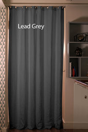 Pure Washed Linen Curtain Drapery, Lead grey