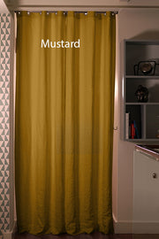 Blackout linen curtain Mustard