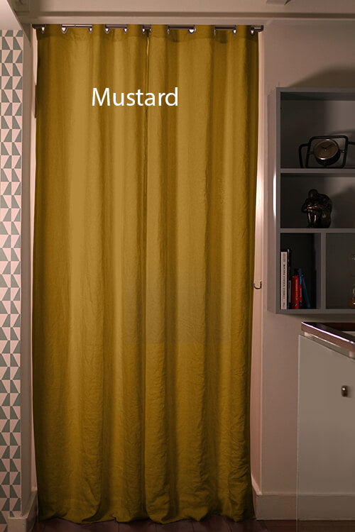 Pure Washed Linen Curtain Drapery, Mustard