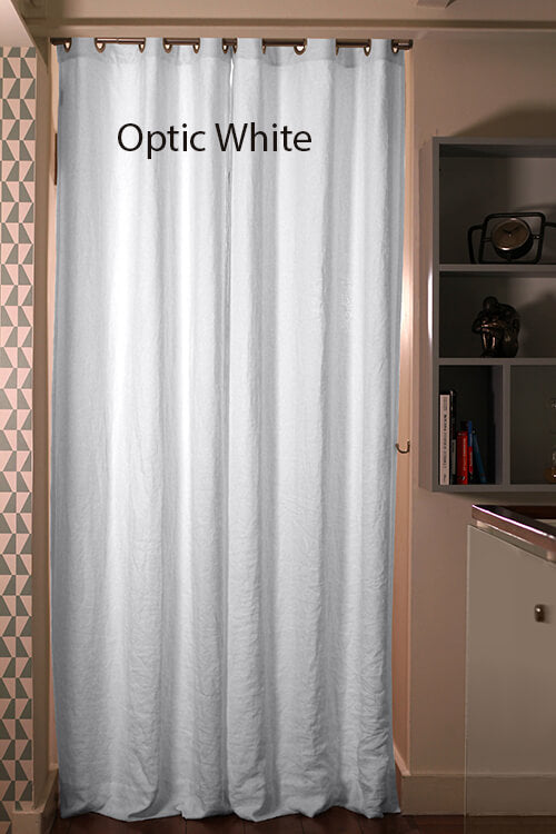 Pure Washed Linen Curtain Drapery, Optic white