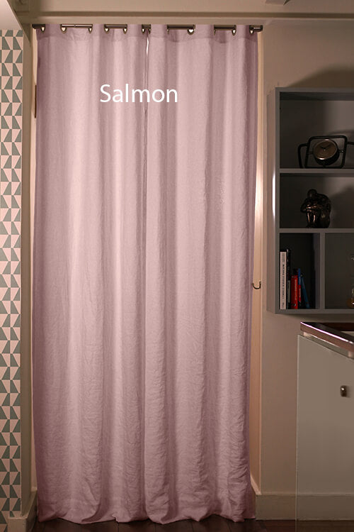 Pure Washed Linen Curtain Drapery, Salmon