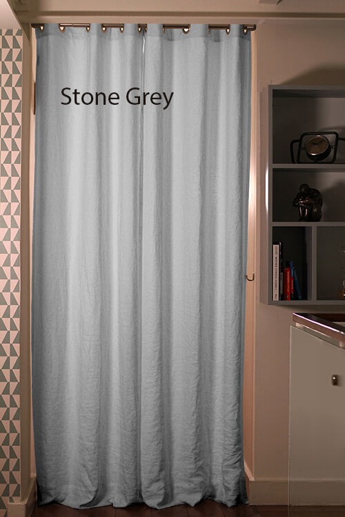 Pure Washed Linen Curtain Drapery, Stone grey