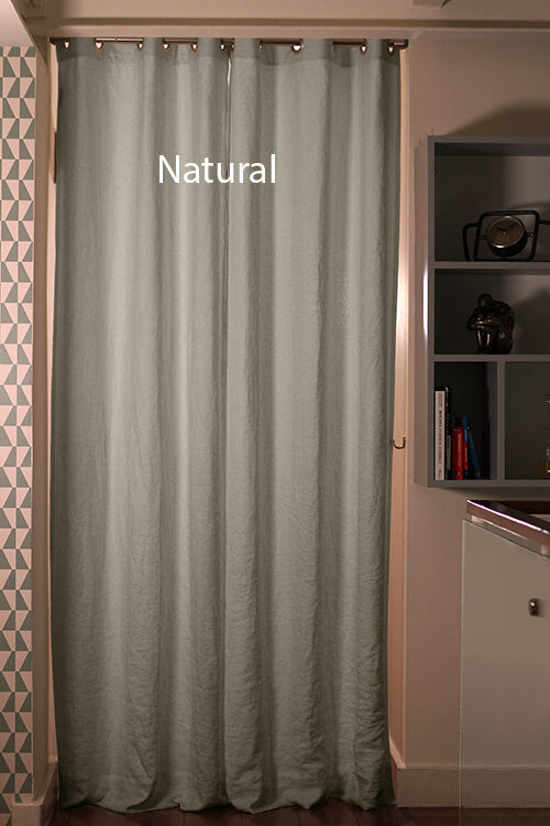 Pure Washed Linen Curtain Drapery, Natural