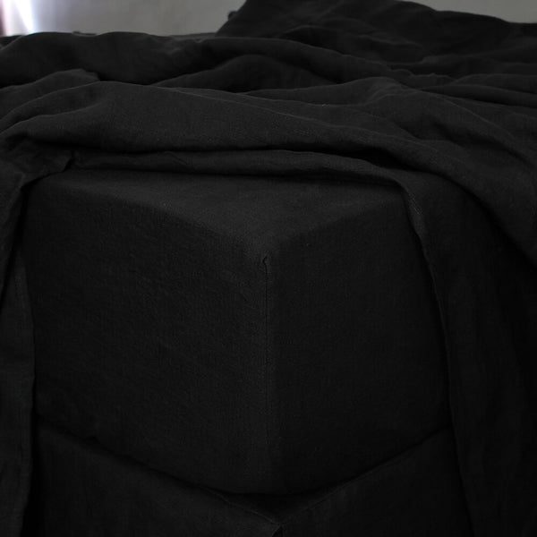 Fitted Sheet in Jet-Black - Linenshed