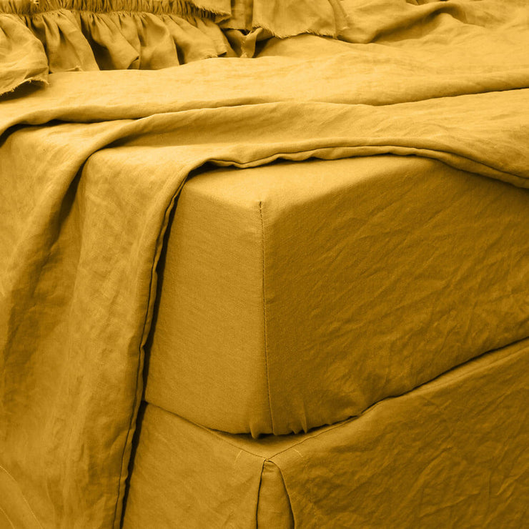 Washed Linen Fitted Sheet Mustard