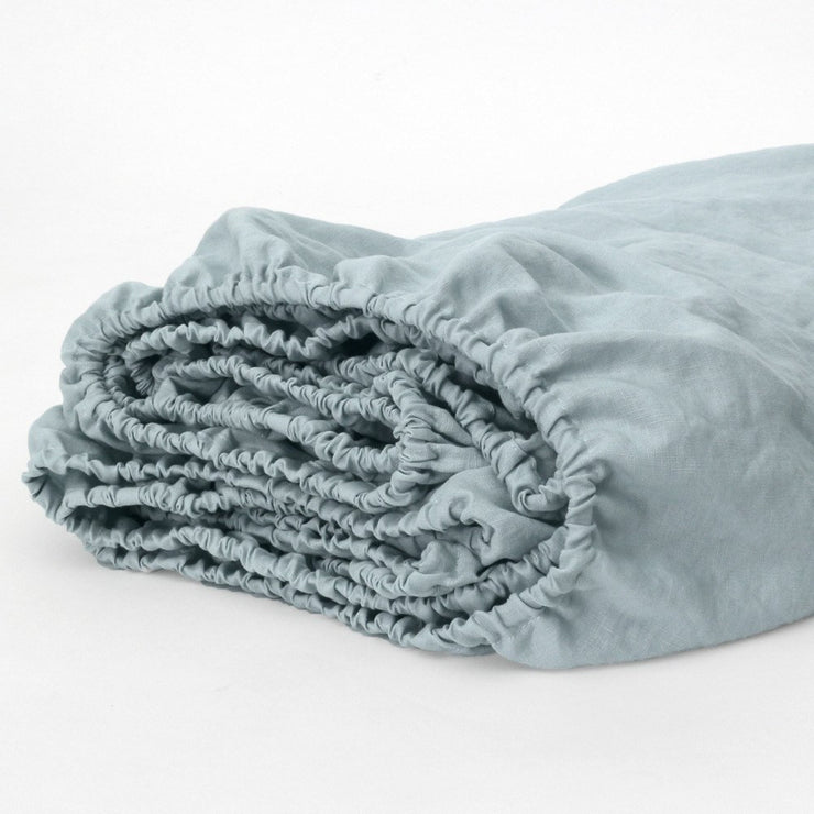 Linen Fitted Sheet Icy Blue
