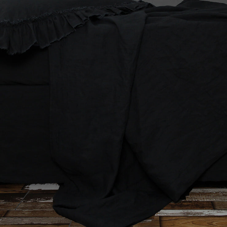 Flat Linen Sheet in Jet Black - Linenshed