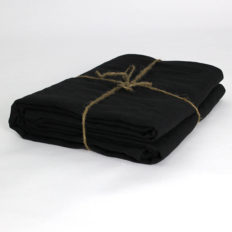 Flat Linen Sheet in Jet Black Folded - Linenshed