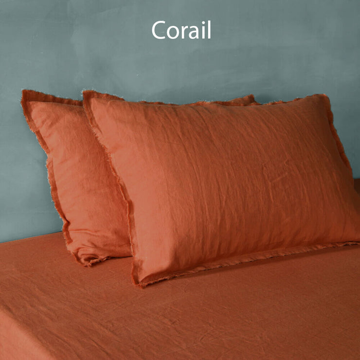 Frayed edge pillowcases Coral