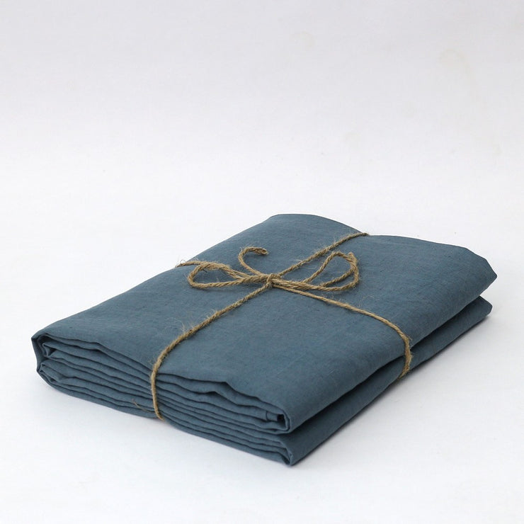100% Linen Bed Sheet in French Blue