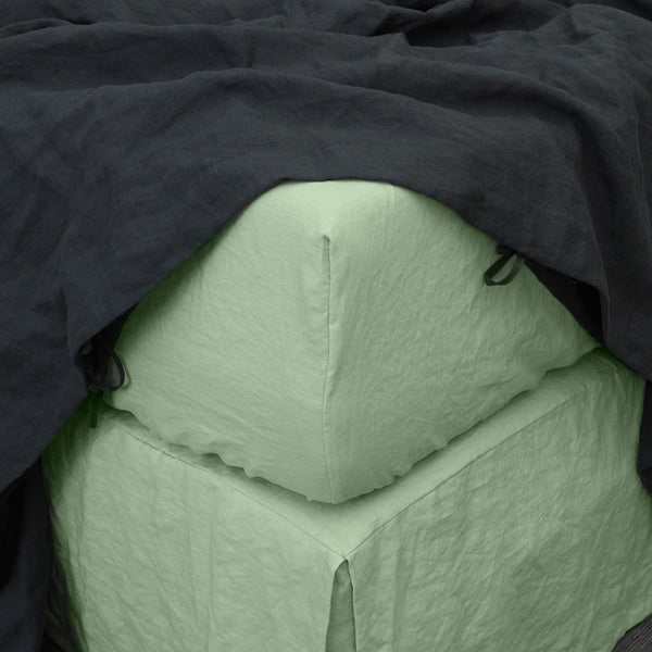Linen Fitted Sheet in Green Tea 01- Linenshed