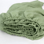 Linen Fitted Sheet in Green Tea 02- Linenshed