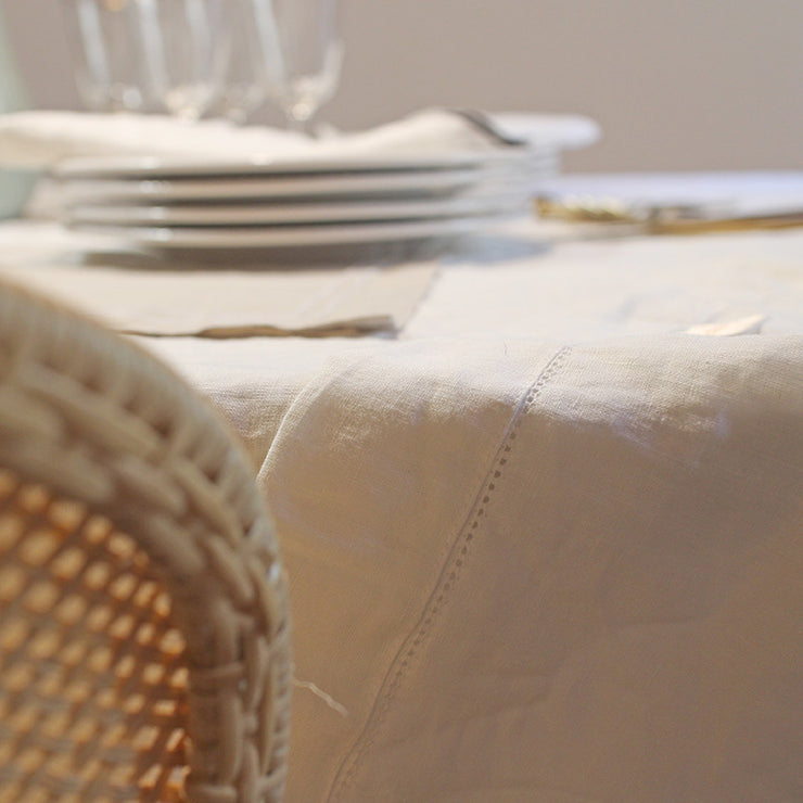 Hemstitched Linen Tablecloth with mitered Corners - Linenshed