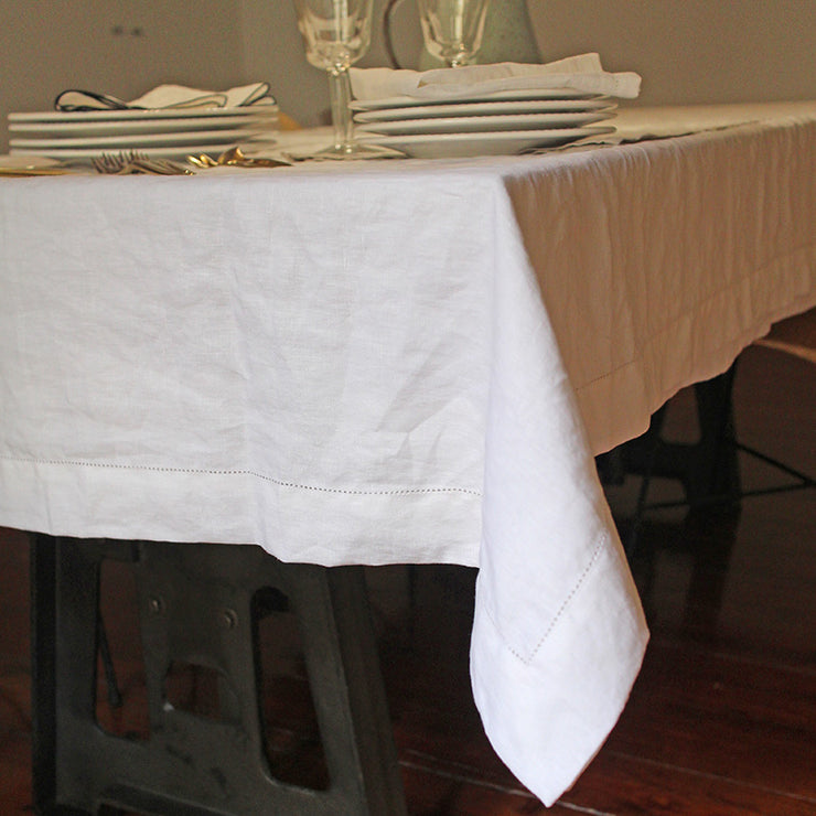 Hemstitched 100% Linen Tablecloth with Mitered Corners