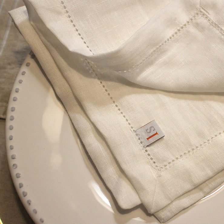 100% Pure Washed Linen Hemstitched Table Napkins