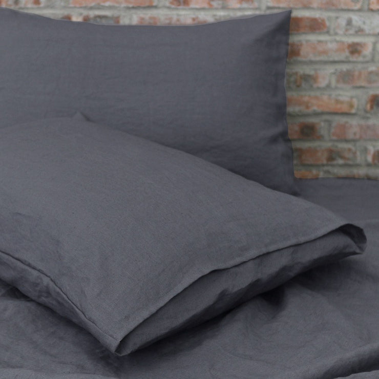 Washed Linen housewife Pillowcases Lead Gray