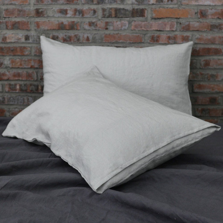 Soft Washed Linen Plain Pillowcases (set of 2) Stone Gray