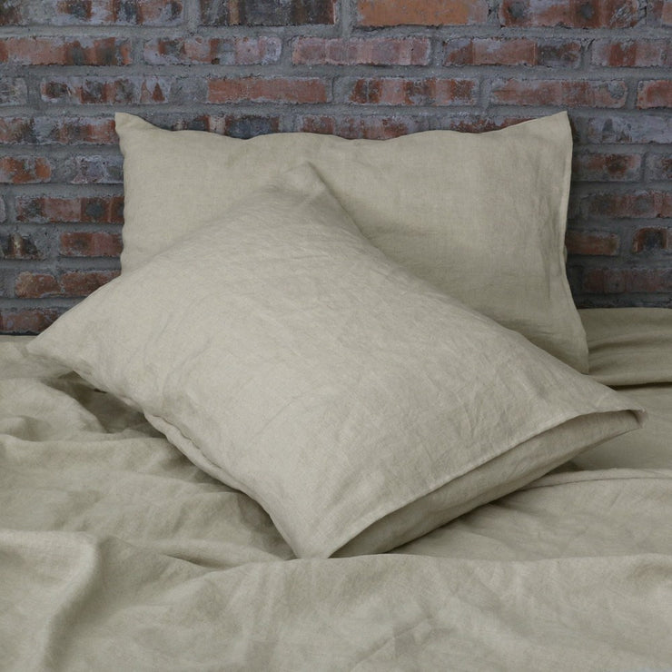 Set of Two Linen Pillowcases Natural Undyed